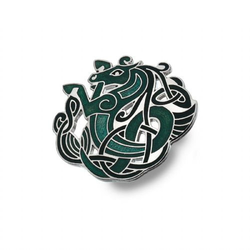 Celtic Horse Brooch Silver Plated Green Brand New Gift Packaging